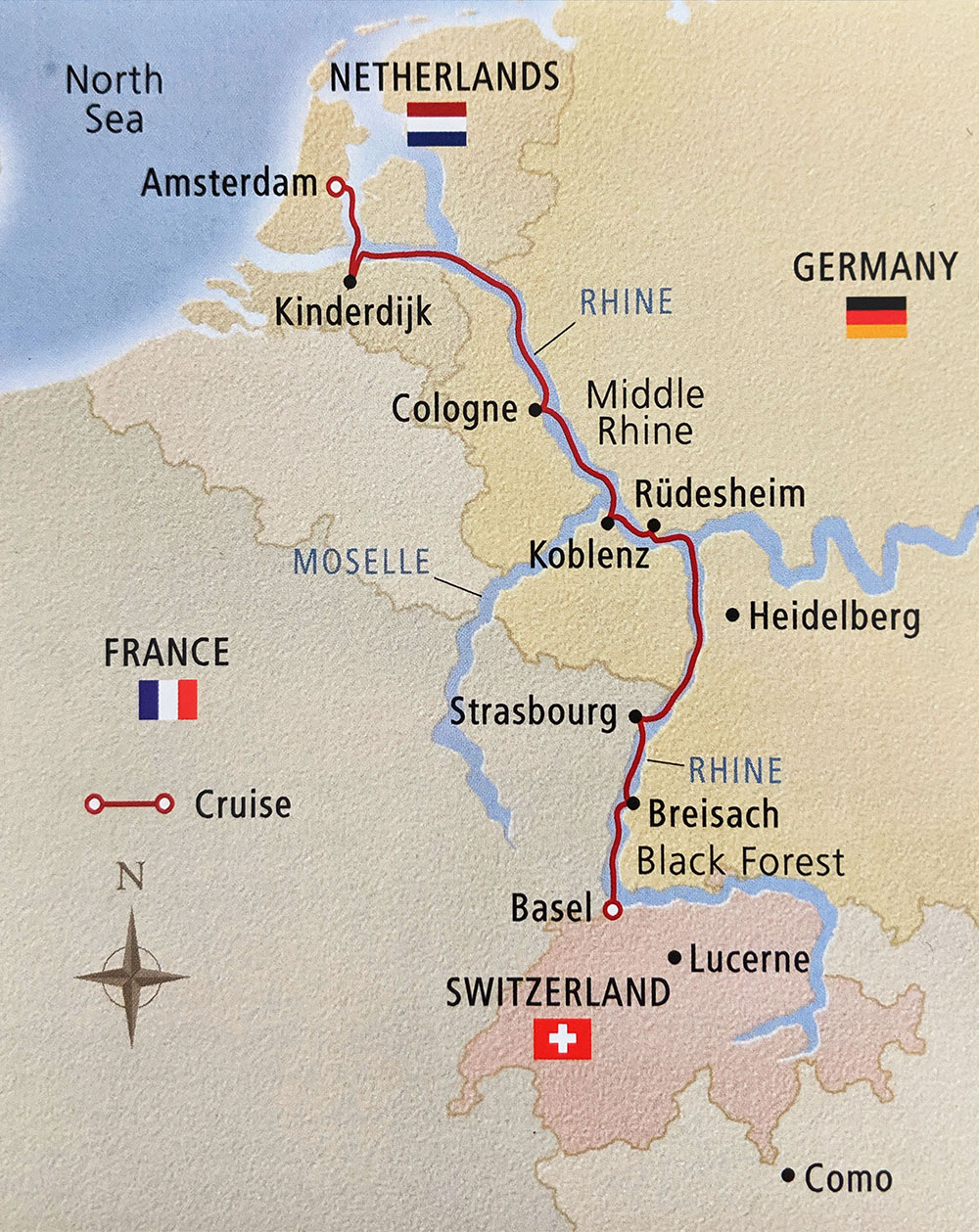 Basel to Amsterdam map